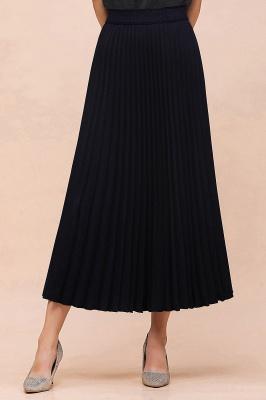 Knitted A-line Tea Length Pleated Skirt_26