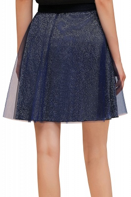 Sparkly Knee Length Metallic A-line Skirt_18