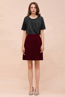 A-line Knitted Knee Length Pleated Skirt_140