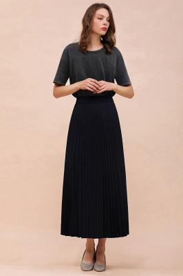 Knitted A-line Tea Length Pleated Skirt_23