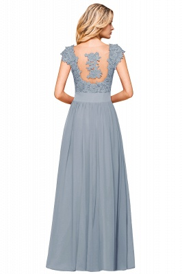 Cap Sleeve Scoop Lace Beading Floor Length Formal Evening Dresses | A Line Chiffon Sexy Prom Dresses_20