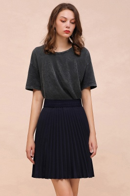 A-line Knitted Knee Length Pleated Skirt_119