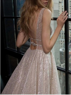 Straps Deep V Neck Sleeveless Sequined Mermaid Prom Dresses | Sexy Backless Evening Gown_3