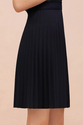 A-line Knitted Knee Length Pleated Skirt_122
