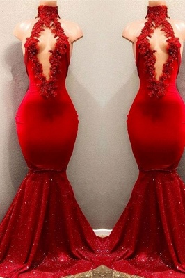 High Neckline Sleeveless Evening Dresses   Red Long Mermaid Prom Dresses_2