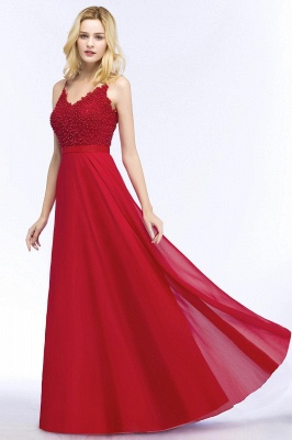 Spaghetti Straps V-Neck Chiffon Lace Evening Dress On Sale_10