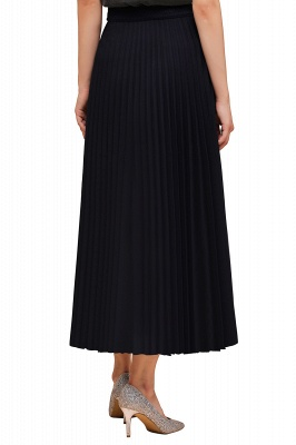 Knitted A-line Tea Length Pleated Skirt_37