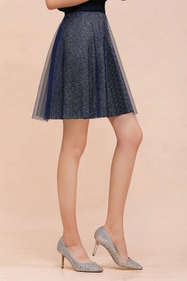 Sparkly Knee Length Metallic A-line Skirt_9