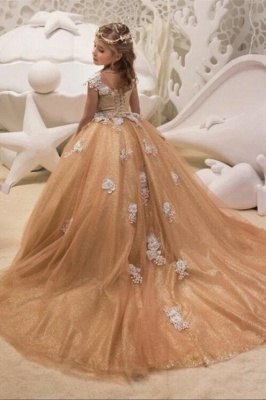 Cute Champagne Jewel Cap Sleeve Applique Pearls Ball Gown Flower Girl Dresses  | 3D Flower Ruffles Pageant Dress For Wedding Party_4
