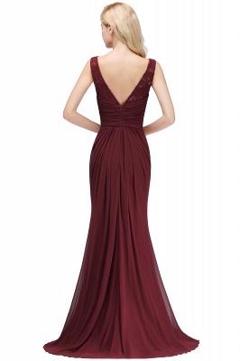 Mermaid Burgundy Chiffon Ruffles Evening Dress On Sale_9