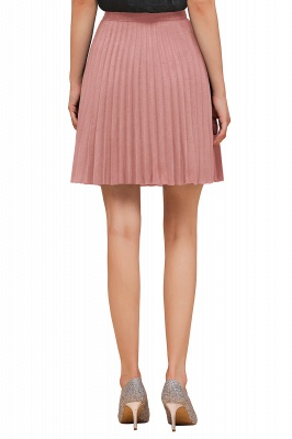 A-line Knitted Knee Length Pleated Skirt_108