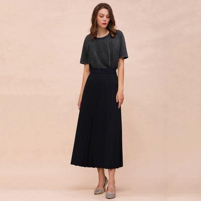 Knitted A-line Tea Length Pleated Skirt_17
