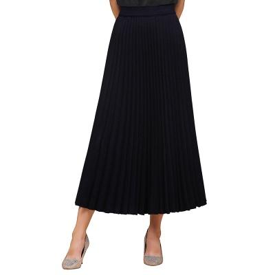 Knitted A-line Tea Length Pleated Skirt_13