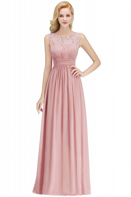 A-line Sleevless Long Lace Appliques Neckline Bridesmaid Dress In Stock_1