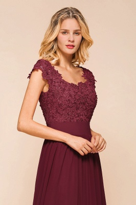 Cap Sleeve Scoop Lace Beading Floor Length Formal Evening Dresses | A Line Chiffon Sexy Prom Dresses_8