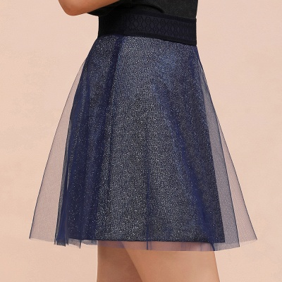 Sparkly A-line Above Knee Metallic Skirt_2