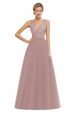 Sleeveless A-line Sequin Tulle Prom Dresses | Cheap Evening Dress_1