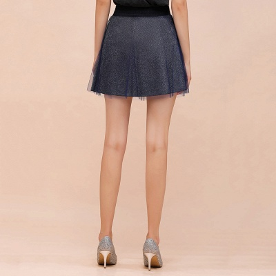 Sparkly A-line Above Knee Metallic Skirt_15