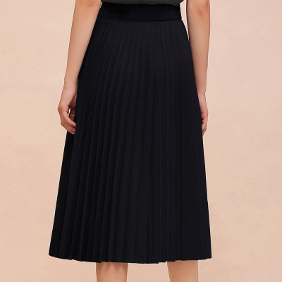 A-line Knitted Short Pleated Skirt_5