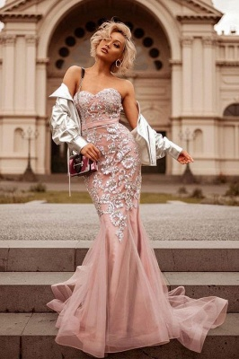 Mermaid Pink Shiny Sequin Sweetheart Appliques Prom Dresses   2019 Evening Gowns_2