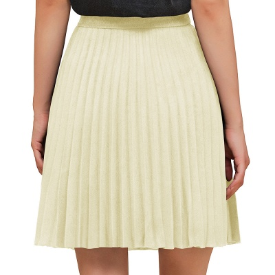 A-line Knitted Knee Length Pleated Skirt_23