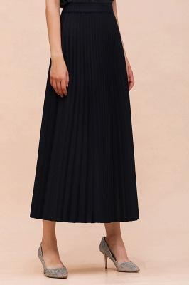 Knitted A-line Tea Length Pleated Skirt_24