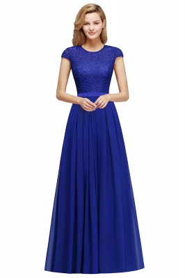 Cap Sleeves Floor Length Jewel Lace Chiffon Bridesmaid Dress | Cheap Prom Dresses_2