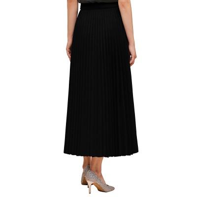 Knitted A-line Tea Length Pleated Skirt_14