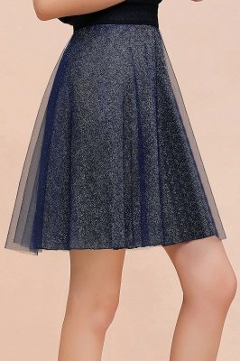 Sparkly Knee Length Metallic A-line Skirt_1