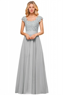 Cap Sleeve Scoop Lace Beading Floor Length Formal Evening Dresses | A Line Chiffon Sexy Prom Dresses_4
