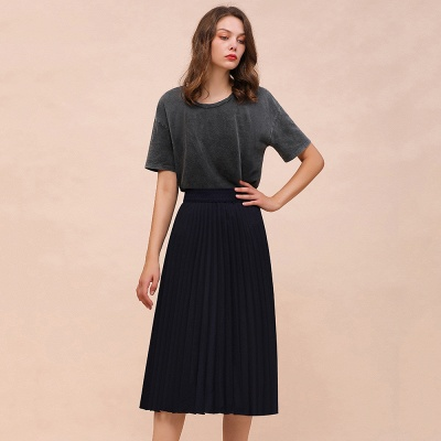 A-line Knitted Short Pleated Skirt_17