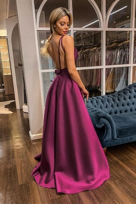 Charming Straps V-neck Illusion-back Sash Ruffles Floor Length A-line Prom Dresses With Back Bow_2