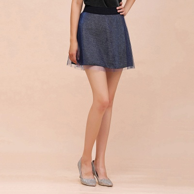 Sparkly A-line Above Knee Metallic Skirt_13