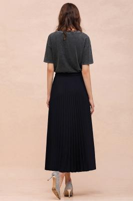 Knitted A-line Tea Length Pleated Skirt_21