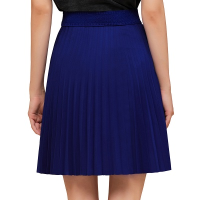 A-line Knitted Knee Length Pleated Skirt_73