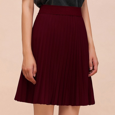 A-line Knitted Knee Length Pleated Skirt_55