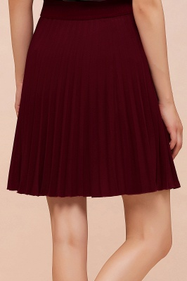 A-line Knitted Knee Length Pleated Skirt_160