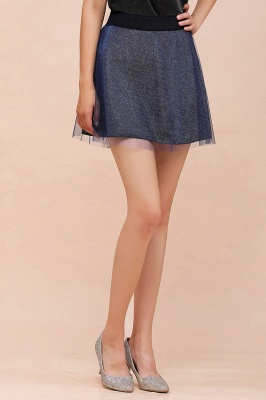 Sparkly A-line Above Knee Metallic Skirt_34