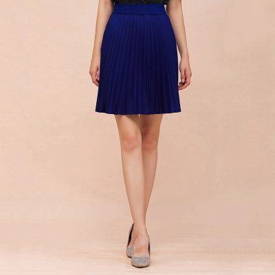 A-line Knitted Knee Length Pleated Skirt_83