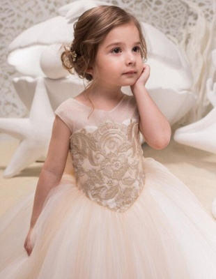 Sweet Scoop Cap Sleeve Applique Bow Ball Gown Flower Girl Dresses | Backless Puffy Little Girl Dresses For Wedding Party_3