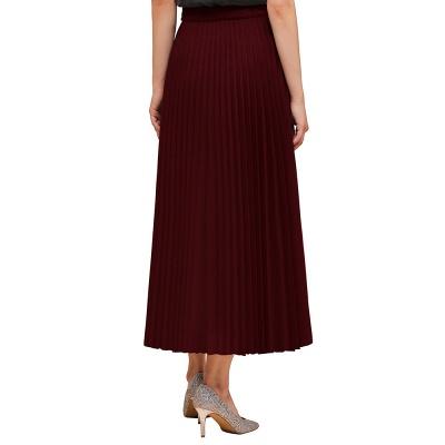 Knitted A-line Tea Length Pleated Skirt_12