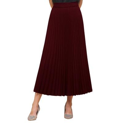 Knitted A-line Tea Length Pleated Skirt_11