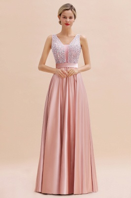 Pink Straps V Neck Beading Crystals A Line Floor Length Ruffles Prom Dresses | Backless Sash Evening Dresses_9