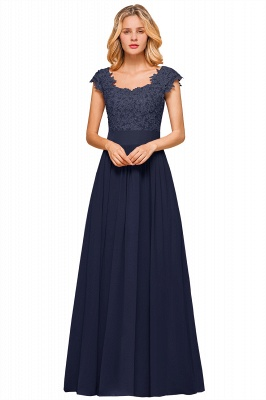 Cap Sleeve Scoop Lace Beading Floor Length Formal Evening Dresses | A Line Chiffon Sexy Prom Dresses_16