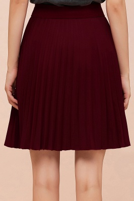 A-line Knitted Knee Length Pleated Skirt_151
