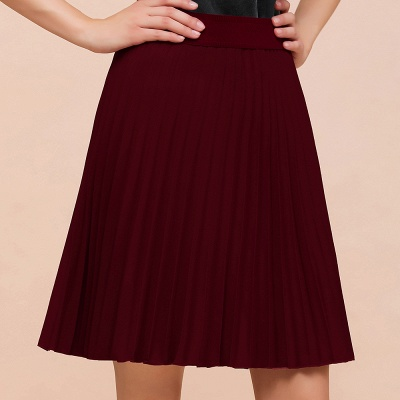 A-line Knitted Knee Length Pleated Skirt_68
