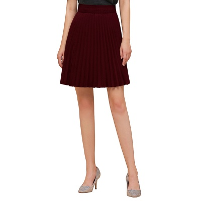 A-line Knitted Knee Length Pleated Skirt_42