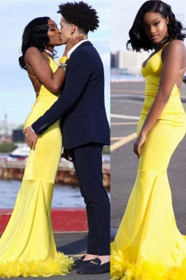 Chic Yellow Mermaid Prom Dresses   V-neck Feathers Train Party Dress_2