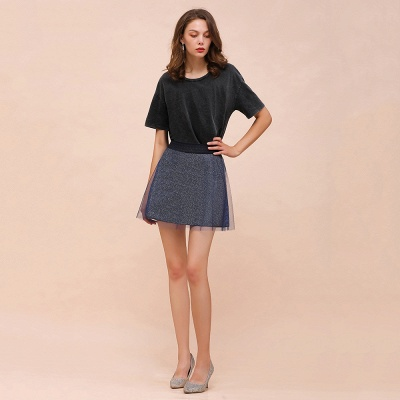 Sparkly A-line Above Knee Metallic Skirt_5