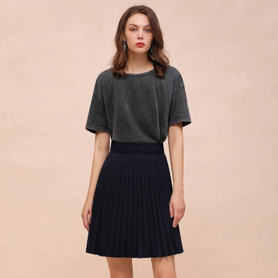A-line Knitted Knee Length Pleated Skirt_15